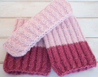 Womens boot cuffs headband set Knit wool boot cuffs Knit pink leg warmers Knit ear warmers Pink headband Pink boot cuffs Cute gift for her