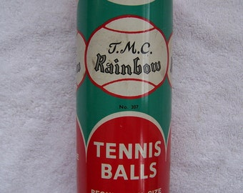1960's TMC Rainbow Tennis Balls Tin!  EXC Condition