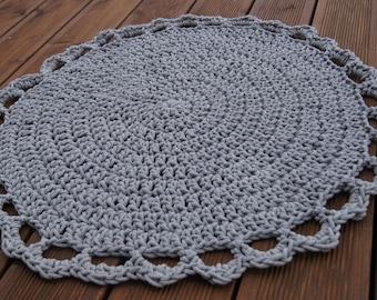 Cotton string rug. Crochet. 80cm
