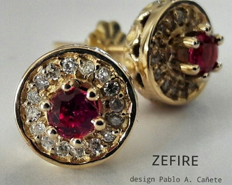 Rings of gold 18 k with brilliant and Ruby