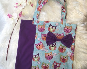 Kids owl library tote bag