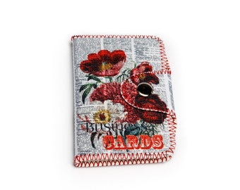 Floral Retro Card Case, Cute Fabric Card Case, Floral Printed Card Holder, Retro Newspaper Wallet for Cards, Gift for Her, 4014