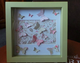 Shabby Chic, butterfly box frame