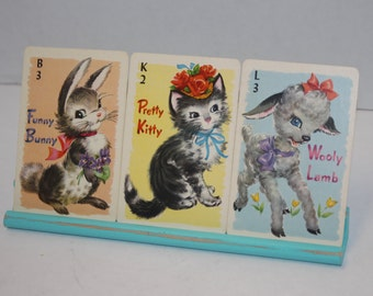 Whitman Animal Cards on Painted Blue Scrabble Tile Rack - Cute Bunny, Kitty Cat and Lamb - Nursery Decor
