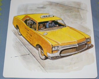 Large vintage Flash Card with Yellow Taxi - Yellow Car Picture - Vintage Taxi Picture