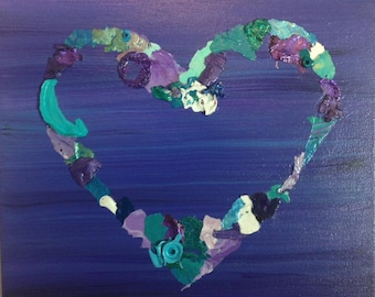 Paint Collage, Mixed Media Painting, Mixed Media Collage Art, Purple Heart Collage
