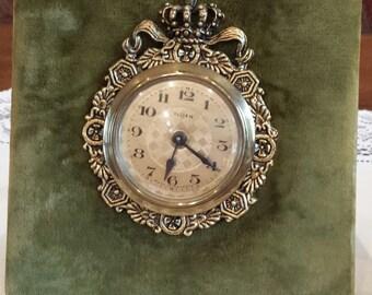 Vintage Florn Green Velvet Clock Made in Germany