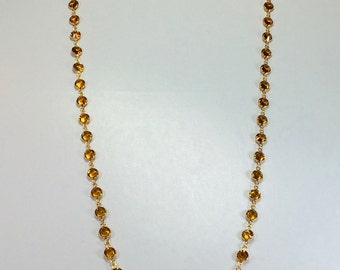 "Raindrops Necklace - Topaz/Gold 36"" Swarovski crystal"