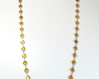 "Raindrops Necklace - Topaz/Rhodium 36"" Swarovski crystal"
