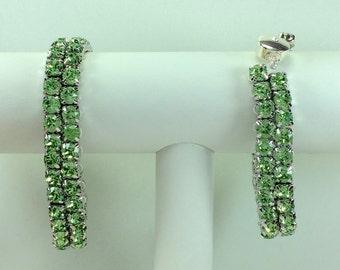 Peridot Glitterati Bracelet - Swarovski Crystals, Magnetic Clasp, Silver