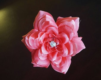 Bright Pink Jute-wrapped Rustic Wedding Guest Book Handmade Flower Pen ITEM 239