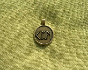 "Viking Runes Pendant. Futhark Runescript ""Healing"". Scandinavian magic Runes amulet."