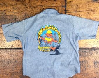 Vintage Chambray Work Shirt Trans Alaska Pipeline Painting