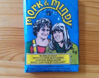 Mork and Mindy Wax Pack Photo Cards and Bubble Gum