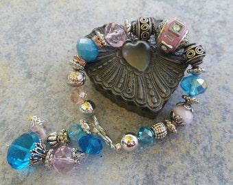 Bracelet, aqua and pink