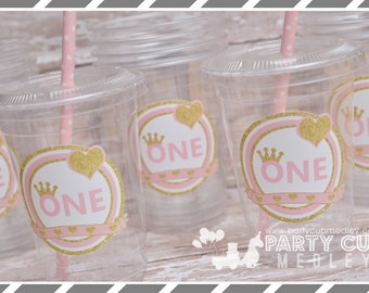 Set of 10 or 20 1st Birthday Party Cups, Lids & Straws, Favor Cups