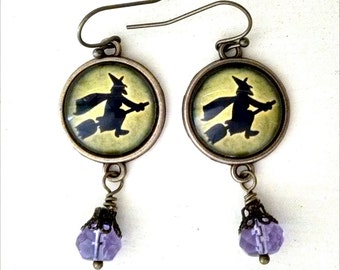 Flying Witch on Green - Halloween Earrings