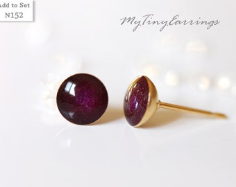 6mm Violet Rasin Stud Earrings Mini Tiny Shimmery - Gold Plated Stainless Steel Posts plus High Quality Epoxy Resin - Moon Line 152