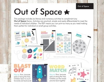 Out of Space Preschool Printable Activities