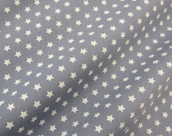 cotton fabric stars grey white 9mm