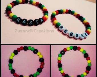 Rasta Reggae Rastafari Bracelet / Bob Marley Bracelet / Beaded bracelet