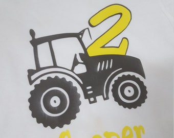 Toddler Tractor Birthday Shirt