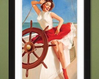 Gil Elvgren – Sailor Girl (12x18 Heavyweight Art Print)