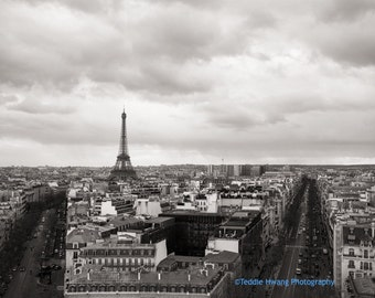 Paris Eiffel Tower, Black and White Photography, Nostalgic Monochrome, Metropolitain