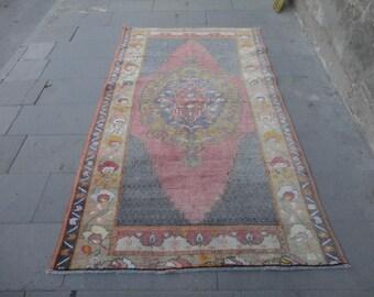 Boho rug,Vintage Turkish rug,muted colors rug,88 x 50 inches,living room rug,midium size rug,high pile rug,hand made area rug