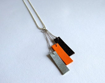 geometric leather necklace, rectangles, tricolor, three-coloured, silver, orange and dark brown