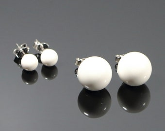White Coral Post Earrings , 6 or 12mm, White Coral Bead Earrings, Made in Italy Sterling Silver 925 Earrings , Stud Earrings, Gift For Her