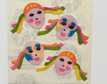 Vintage Sandylion Rainbow Pierrot Clown Pearl Stickers