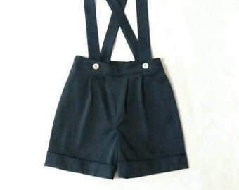 English blue shorts with elastic and adjustable suspenders, night 2-3 years