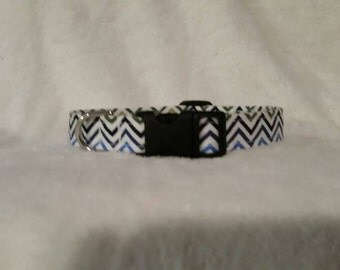 Dog Collar- Blue Ombre Chevron