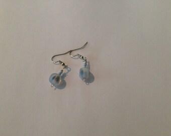 Beautiful glass bead dangling pierced earrings