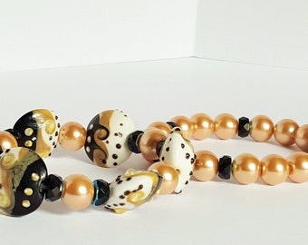 Black, Beige and White Lampwork Stretch Bracelet