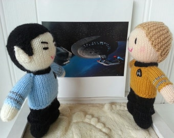 Star trek characters - Spock and Captain Kirk hand knit dolls