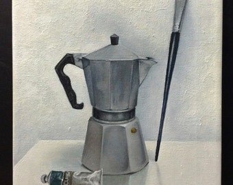Coffee & paint - stillife painting oil on canvas