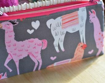 Llama Zipper Pouch, Llama Accessory Bag, Llama Pencil Case