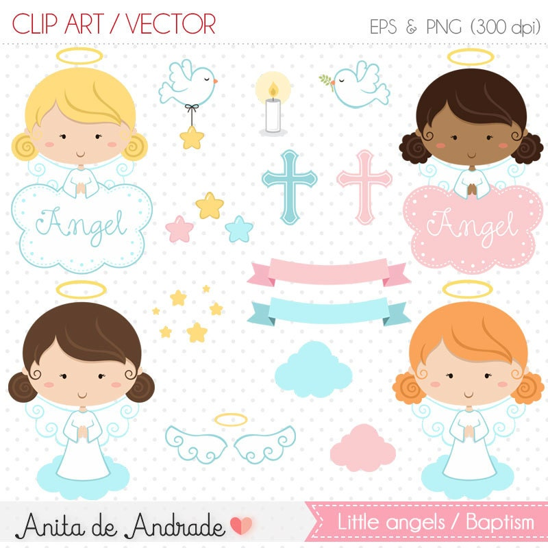 Little angel Clipart / Baptism vector - Commercial use - White dove,  church, girl, blue and pink- C005