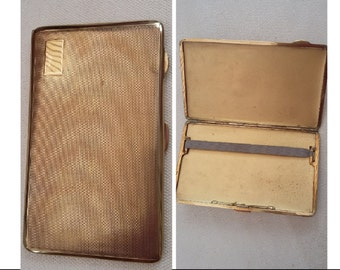 Vintage 1960's brass wallet size cigarette tin