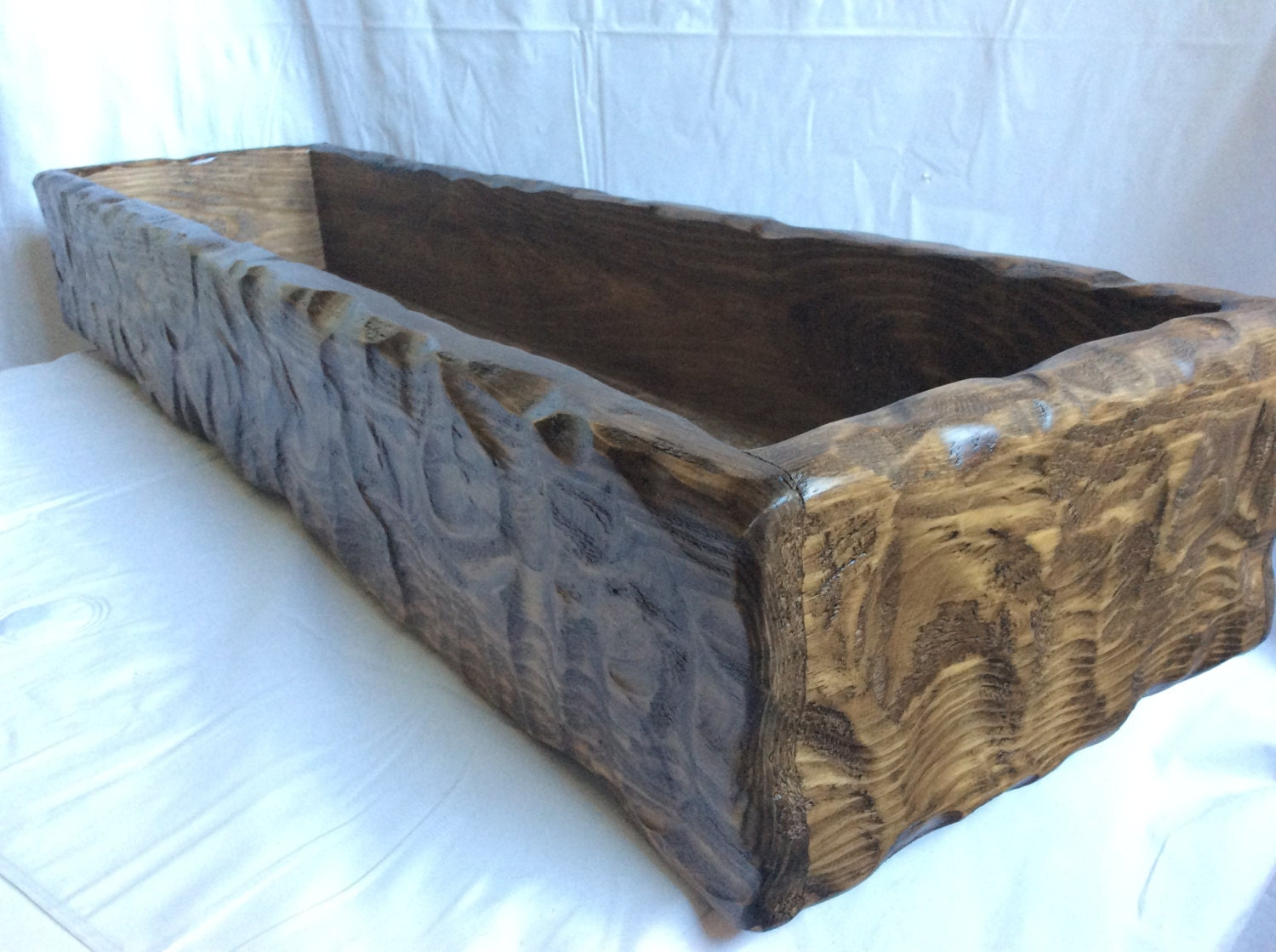 Table trough centerpiece wood trencher bowl