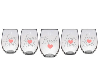 Team Bride Stemless Wine Glasses, Bridal Party Wine Glasses, Stemless Wine Glasses, Bridesmaid Gifts, Bridal Party Gifts