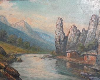 Antique oil painting river landscape mountain view