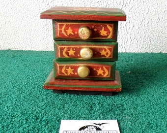 Hand Carved / Hand Painted 3 Drawer Dresser/Jewely Box