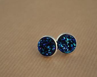 Faux Druzy Earrings - Stud Earrings - Faux Druzy's - Silver Plated Studs - Space Jewelry - Outer Space Jewellery