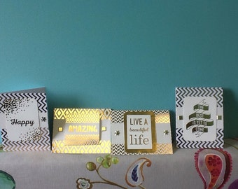 Set of four handmade blank cards