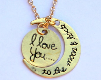 I love You to the Moon and Back- Gold Necklace