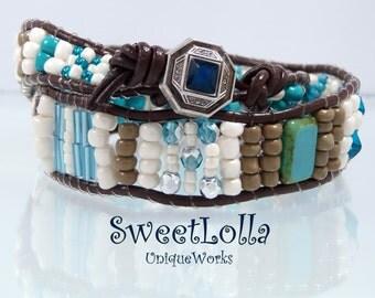 Boho Leather Wrap Bracelet, Two Wrap Beaded, Leather Wrap Bracelet, Boho Bracelet, Boho Beaded Wrap Bracelet