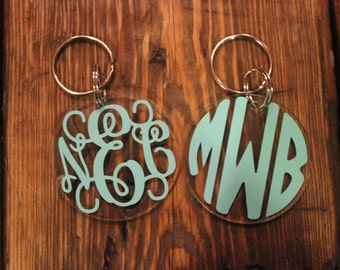 "Personalized Keychain/Monogrammed Key Chain/2"" Acrylic Round Key Chain/Personalized Key Chain/Custom Key Chain/ Great gift"